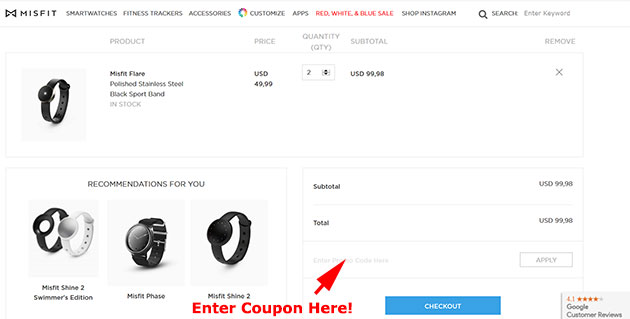 Misfit-Flare coupon code